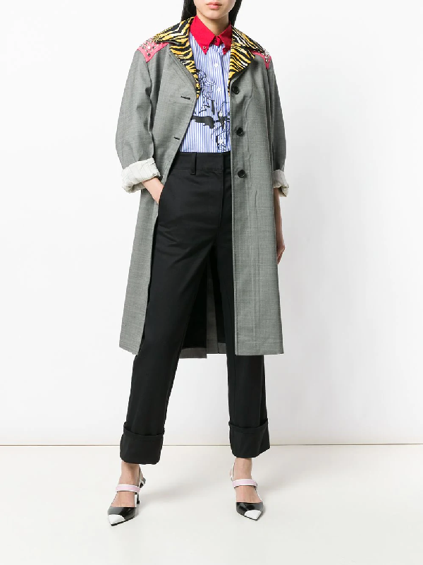 Prada 3/4 Length Coat With Removable Collar In Grey