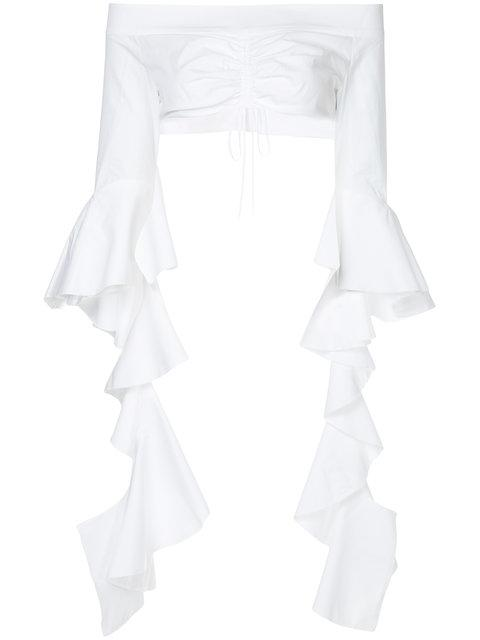 Ellery High Noon Frill Sleeve Crop Top In White