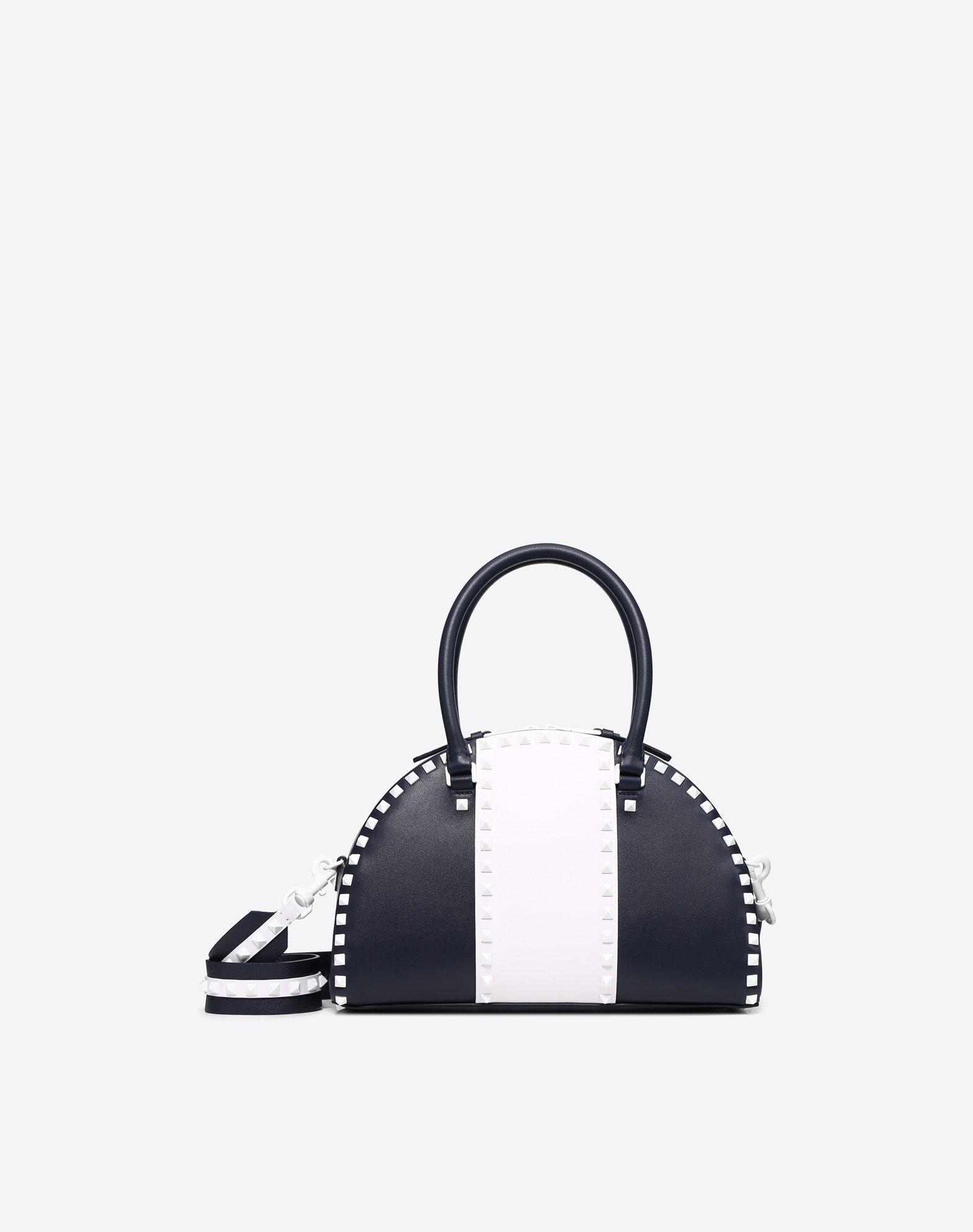 Valentino Free Rockstud Double Handle Bag In Dark Blue
