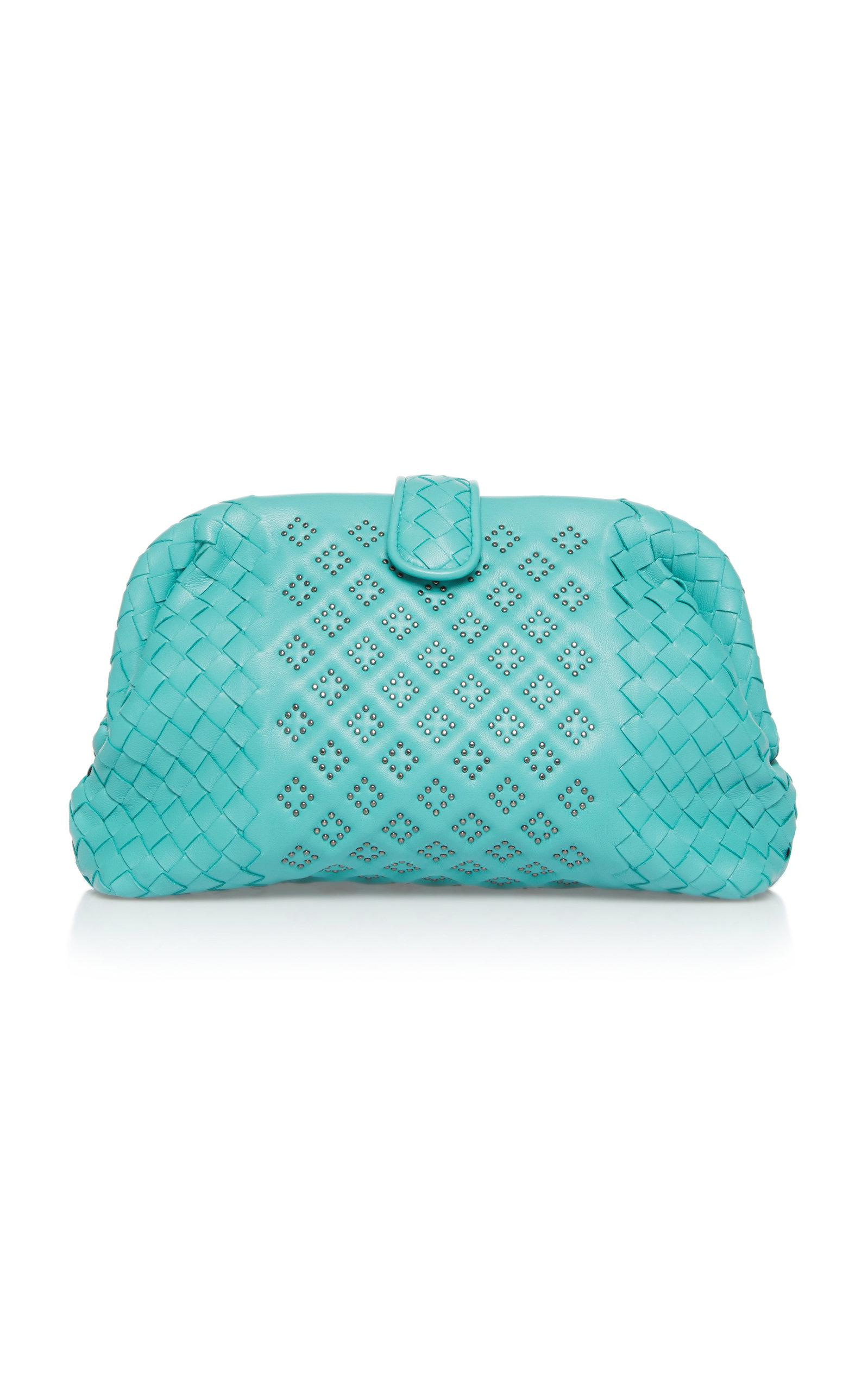 Bottega Veneta Lauren Microstud Leather Clutch In Blue
