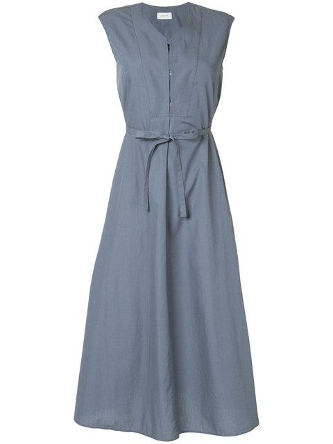 Lemaire Belted Flared Midi Dress In Blue