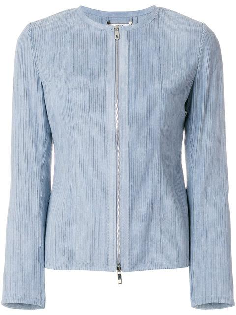 Desa Collection Ribbed Fitted Jacket In Blue