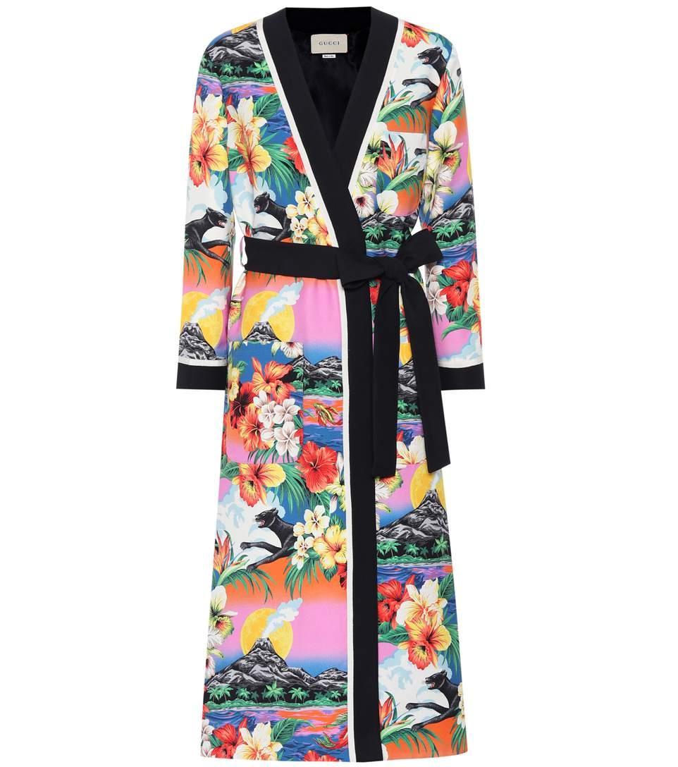 Gucci Printed Kimono Coat In Multicoloured