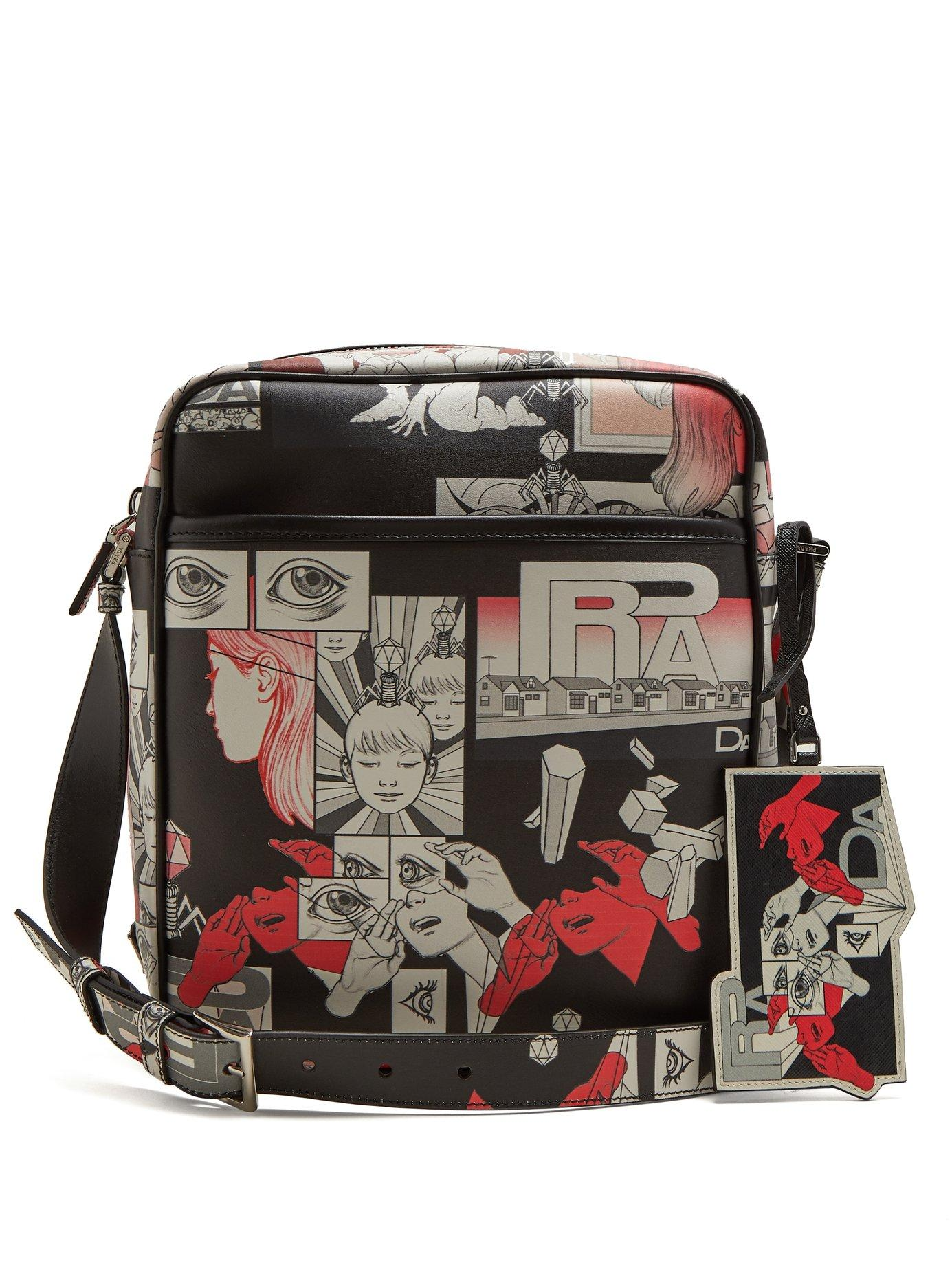 Prada Comic-strip Print Leather Messenger Bag In Black Multi
