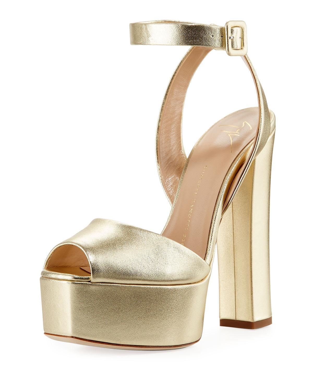 Giuseppe Zanotti Suede Platform Ankle-wrap Sandal In Nude