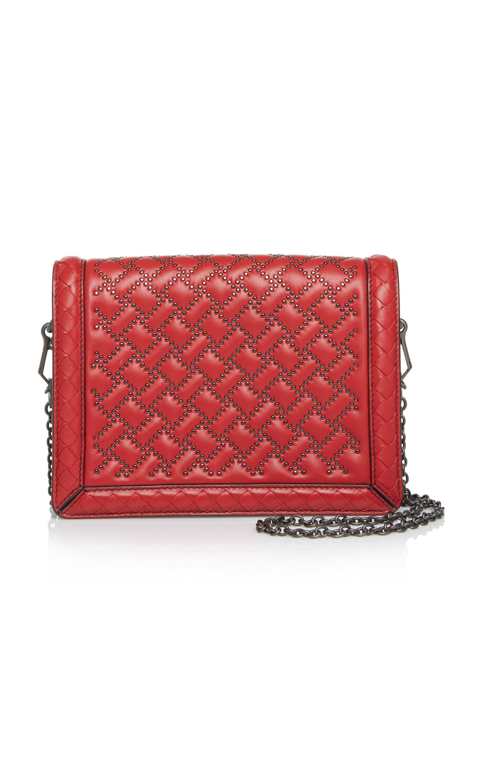 Bottega Veneta Mini Montebello Microstud Leather Shoulder Bag In Red