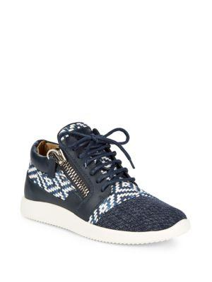 Giuseppe Zanotti Multimedia Mid-top Sneakers In Navy