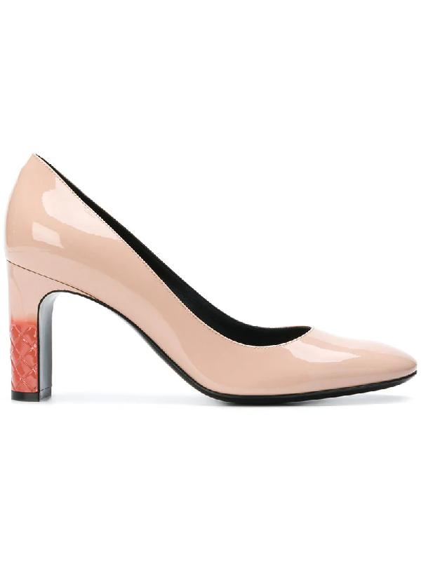 81eee1584c0 Bottega Veneta Patent Block Heel Leather Pumps In Pink