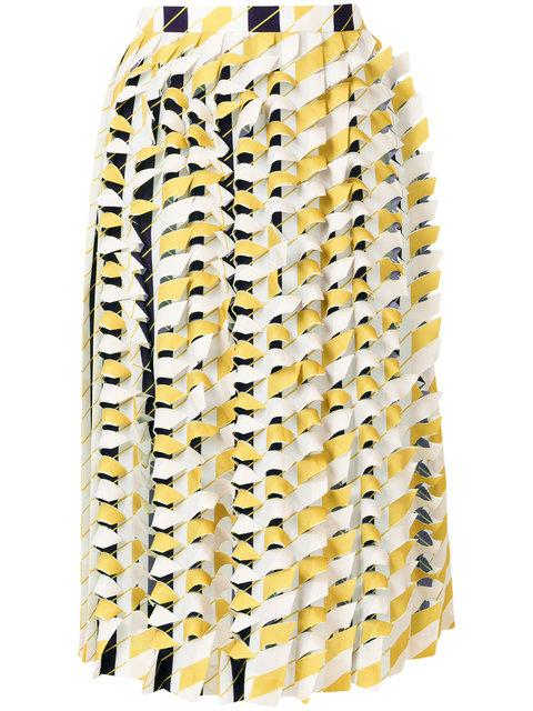 Maison Margiela Textured Pleated Skirt In Navy