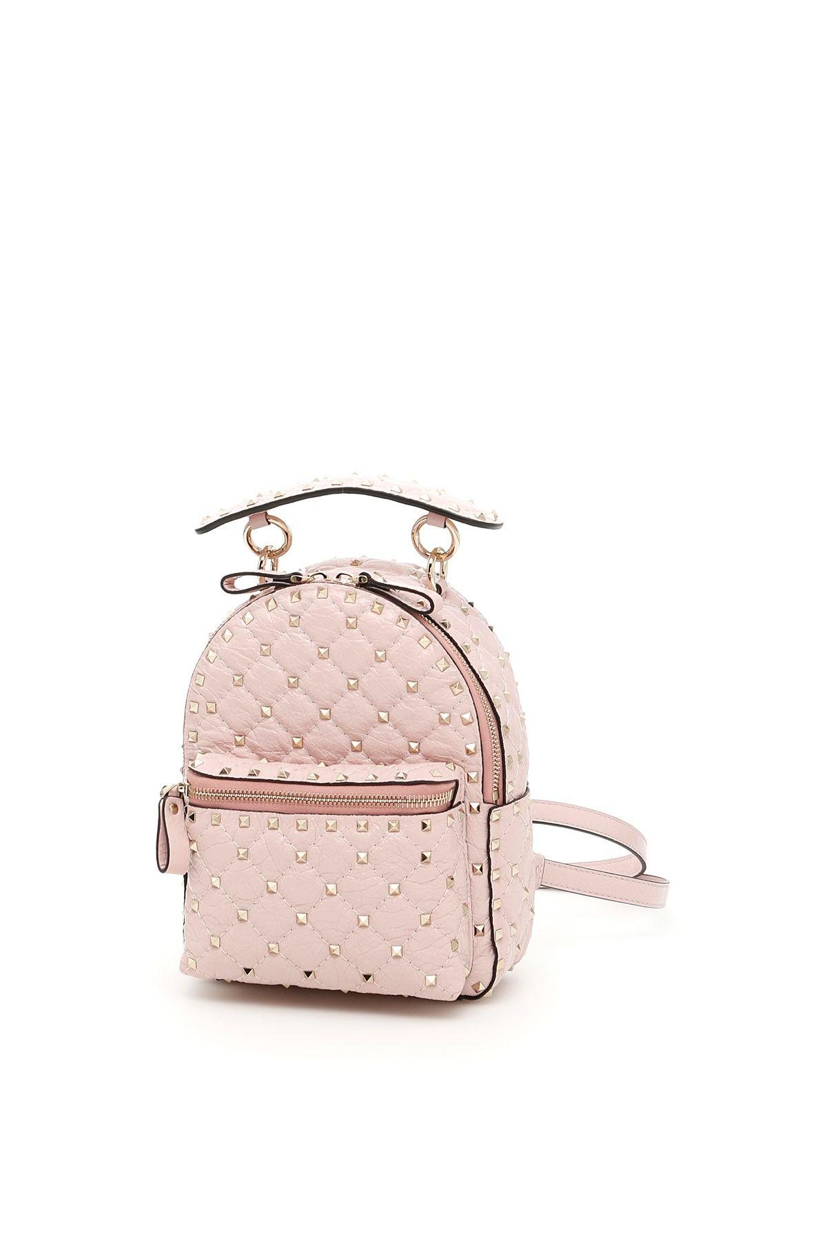 Valentino Rockstud Spike Leather Backpack In Water Roserosa