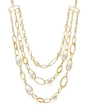 Ippolita 18k Yellow Gold Nova Cultured Freshwater Pearl Three-strand Collar Necklace, 12 In White/gold