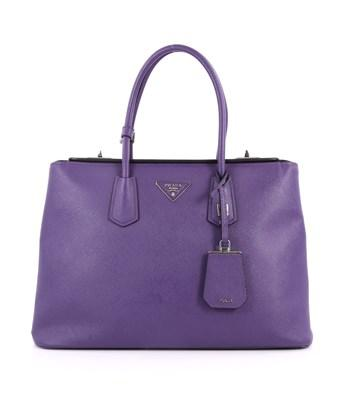 Prada Pre-owned: Turnlock Twin Tote Saffiano Leather Medium In Purple