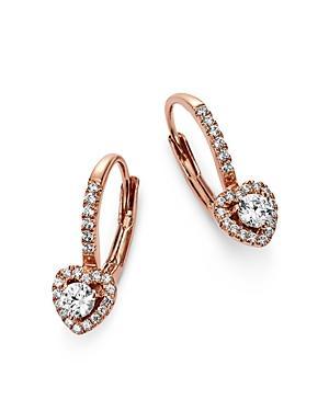 Bloomingdale's Diamond Heart Drop Earrings In 14k Rose Gold, 0.35 Ct. T.w. - 100% Exclusive In White/rose