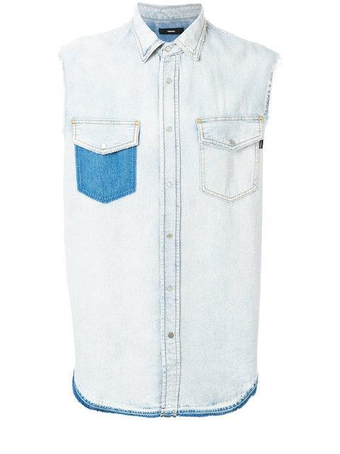 Diesel Frayed Hem Sleeveless Shirt
