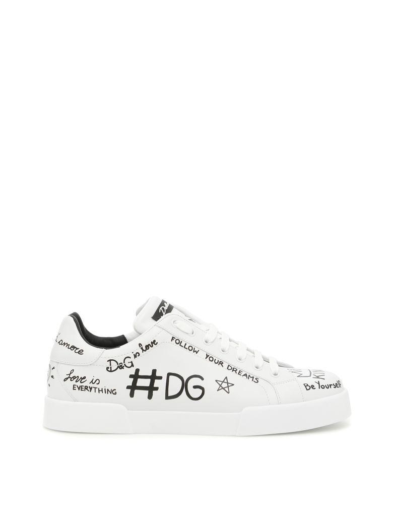 Dolce & Gabbana Portofino Sneakers In Scritte F.do Biancobianco