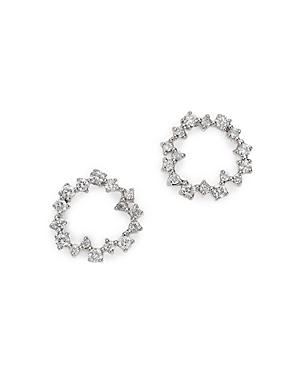 Adina Reyter 14k Yellow Gold Scattered Diamond Circle Earrings In White/gold