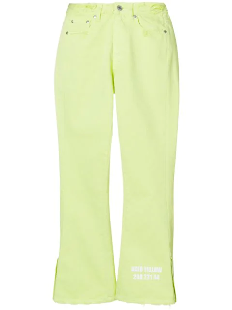 Msgm Cropped Denim Jeans - Yellow
