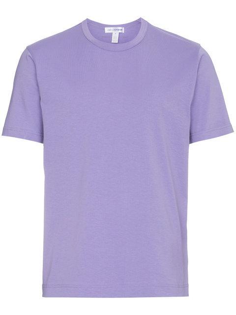 Comme Des GarÇons Shirt Rear Logo Print Cotton T Shirt In Pink&purple