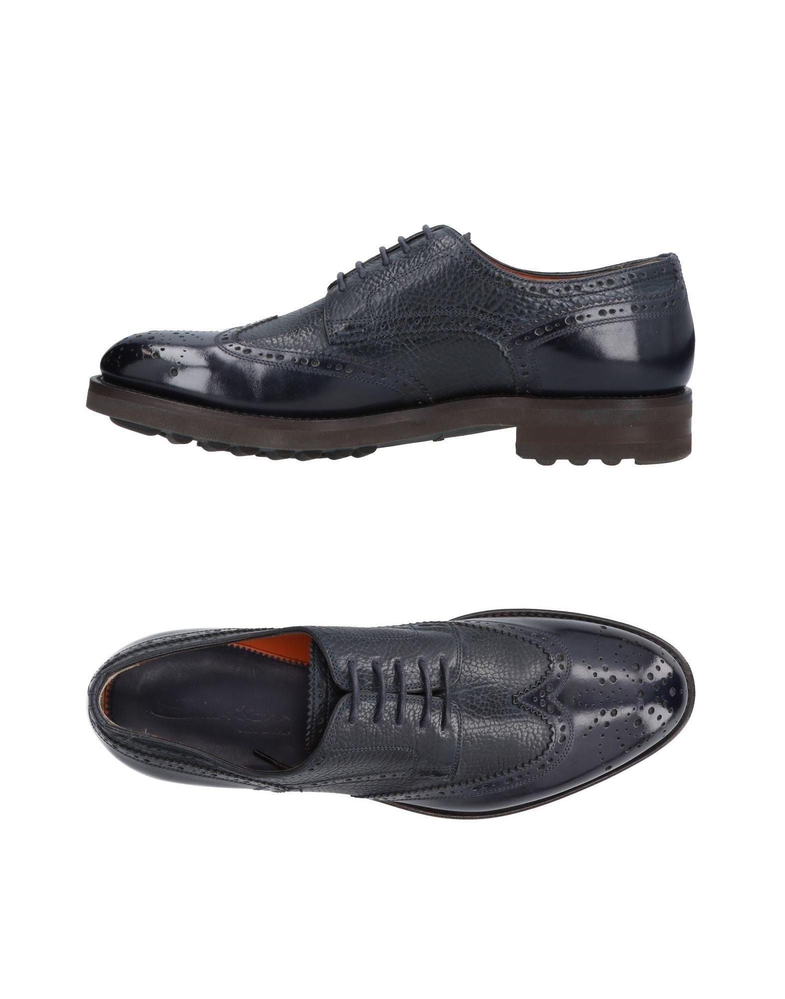 Santoni Laced Shoes In Dark Blue