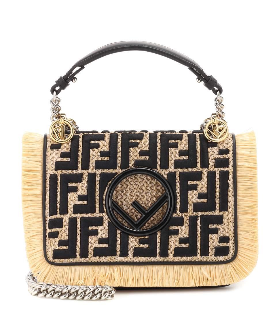 Fendi Kan I F Small Raffia Shoulder Bag In Beige