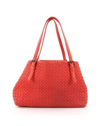 Bottega Veneta Pre-owned: A-shape Tote Intrecciato Nappa Medium In Red