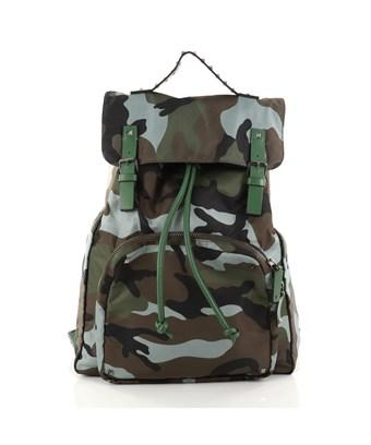 Valentino Pre-owned: Top Flap Backpack Camo Nylon Large In Green