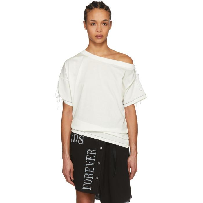 Ann Demeulemeester Off-white Off-the-shoulder Elmer T-shirt In 002 Off Wht