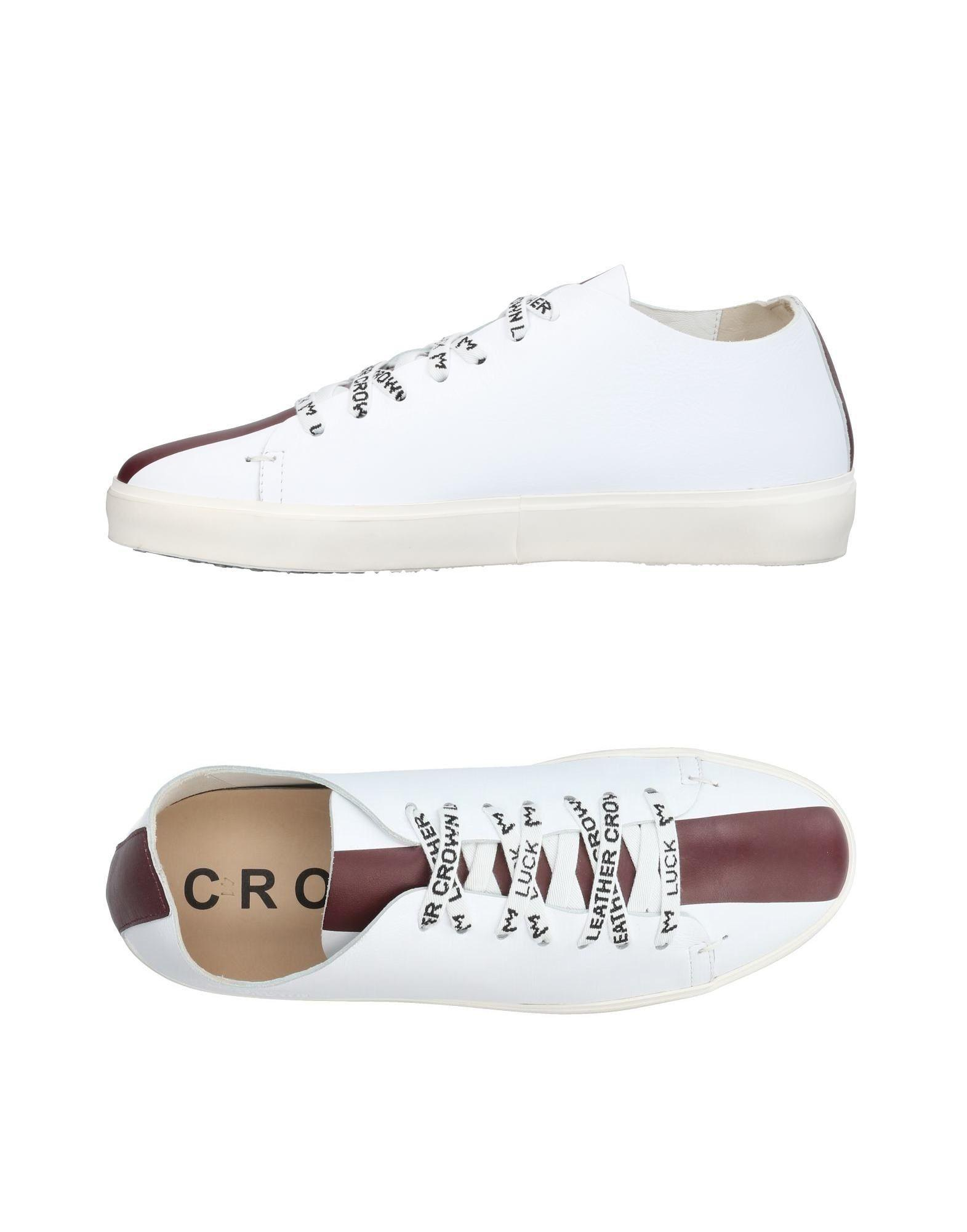 Leather Crown Sneakers In Maroon