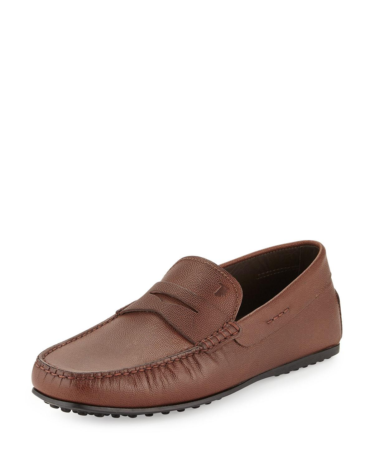 Tod's City Textured-leather Driver, Light Brown In Brown Light