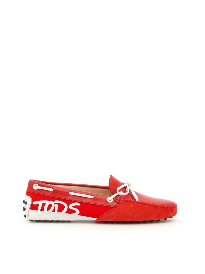 Tod's Gommino Mocassins With Logo Patch In Rosso Biancorosso
