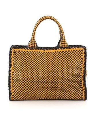 99c66a35c3b9 Prada Pre-Owned  Madras Convertible Open Tote Woven Leather Small In Yellow