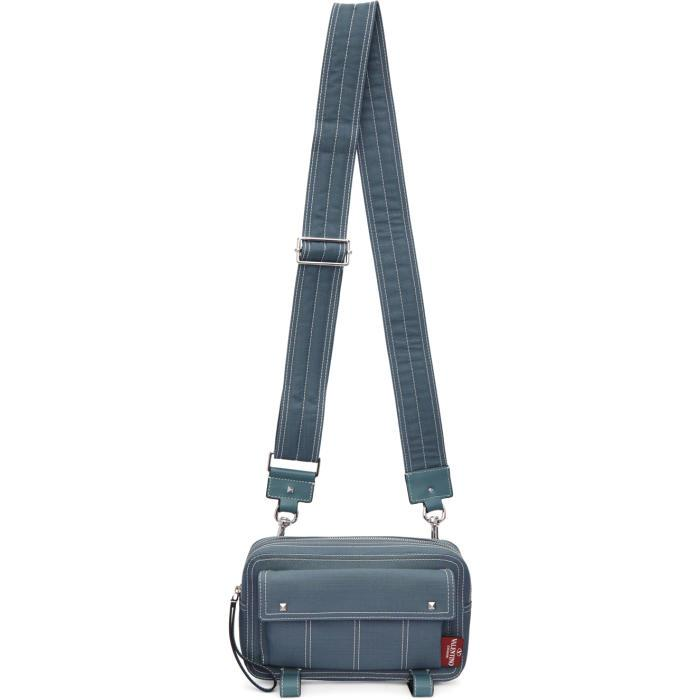 Valentino Blue  Garavani Contrast Stitch Crossbody Bag