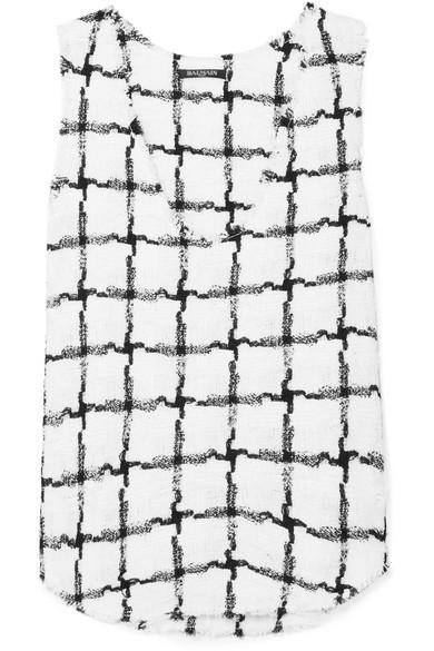 Balmain Frayed Checked Tweed Tank In White