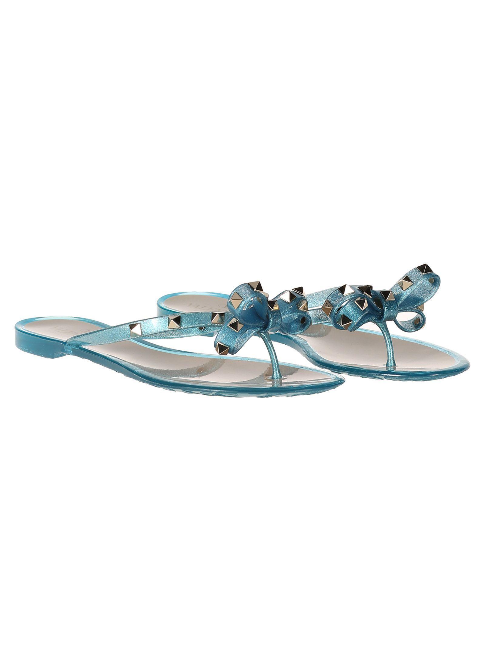 Valentino Garavani Studs Slippers In Light Blue