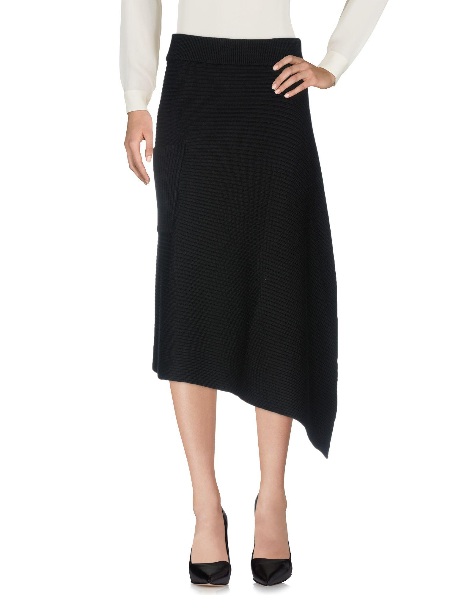 Tibi Knee Length Skirts In Black