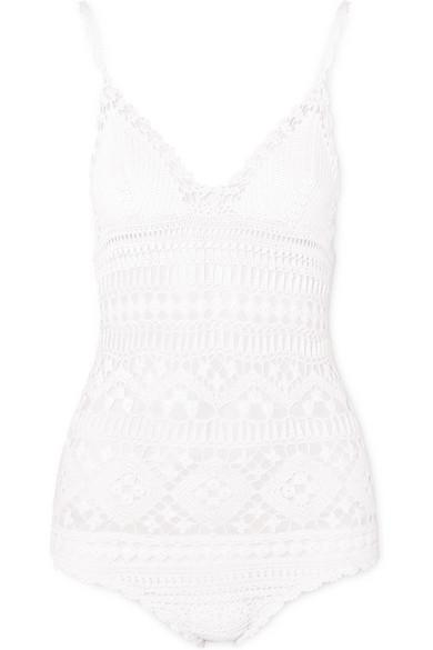Isabel Marant Connie Crocheted Cotton Bodysuit In White