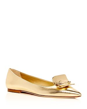 Brian Atwood Women's Amaia Leather Pointed Toe Flats In Gold