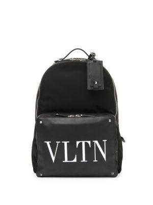 Valentino Leather Logo Back Pack In Black