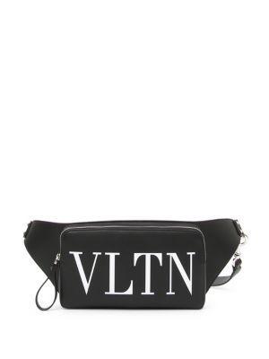 Valentino Men's Vltn Logo Leather Crossbody Bag In Nero Bianco