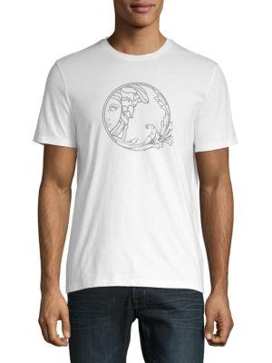 Versace Logo Cotton Jersey Tee In White