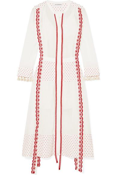 Altuzarra Grenelle Broderie Anglaise-trimmed Swiss-dot Cotton And Chiffon Midi Dress In White