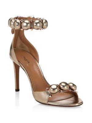 AlaÏa Studded Stiletto-heel Leather Sandals In Metallic