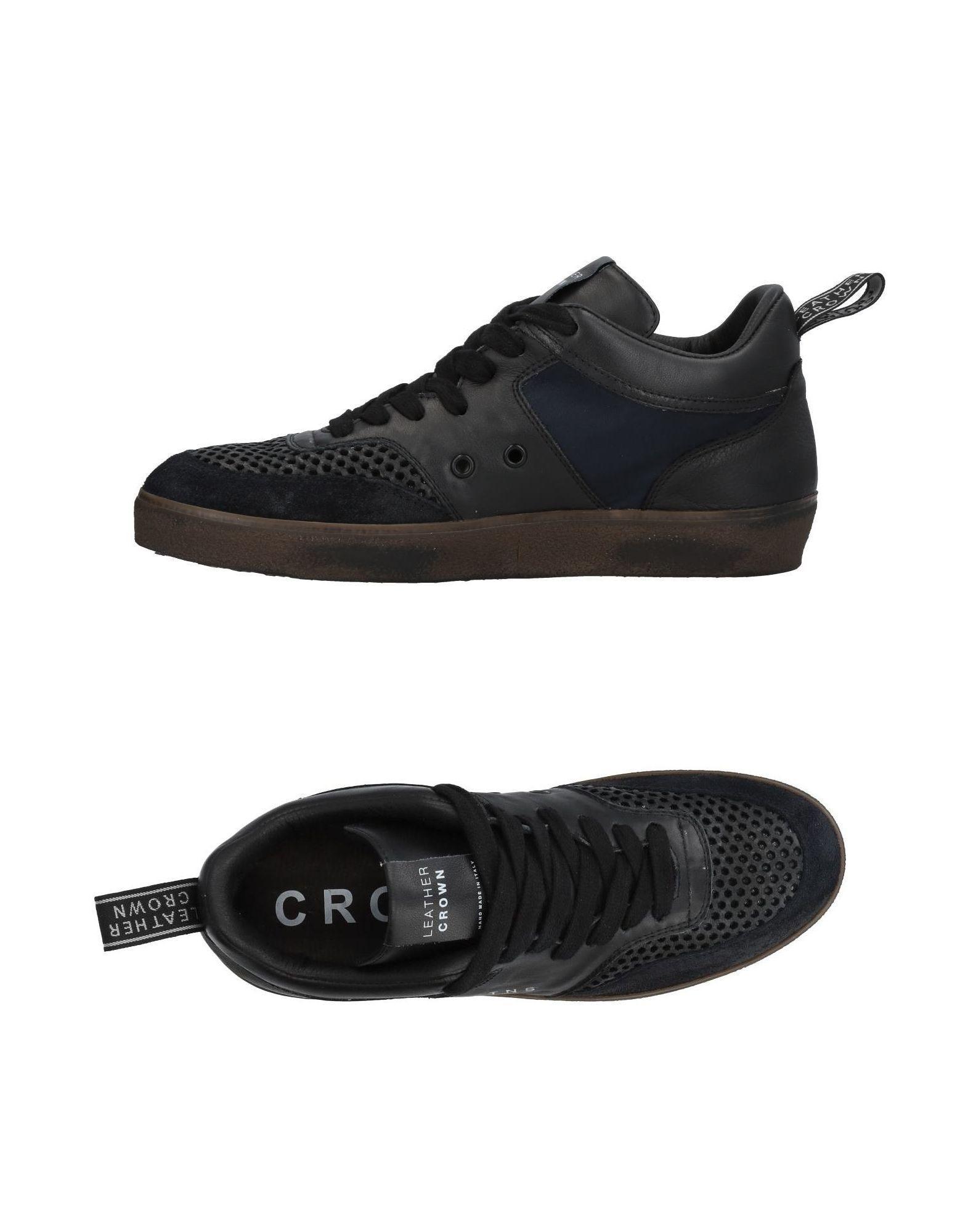 Leather Crown Sneakers In Black