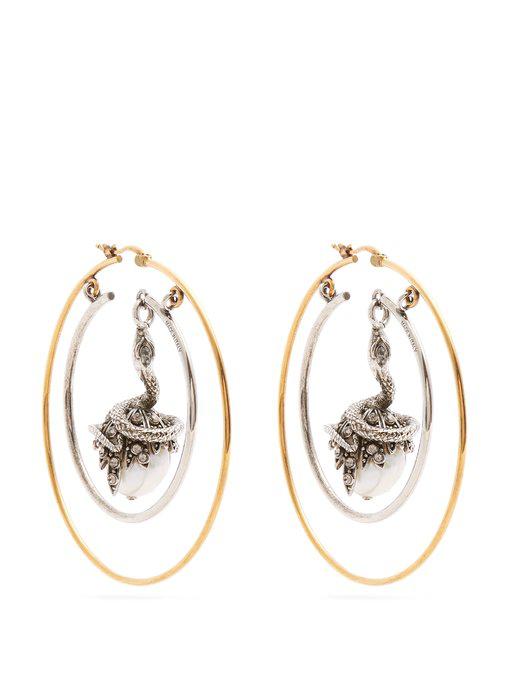 Alexander Mcqueen Faux-pearl Drop Hoop Earrings In Gold