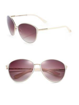 Tom Ford Penelope Metal Cat Eye Sunglasses In White