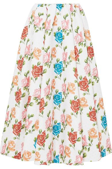 Emilia Wickstead Jane Pleated Floral-print CloquÉ Midi Skirt In White