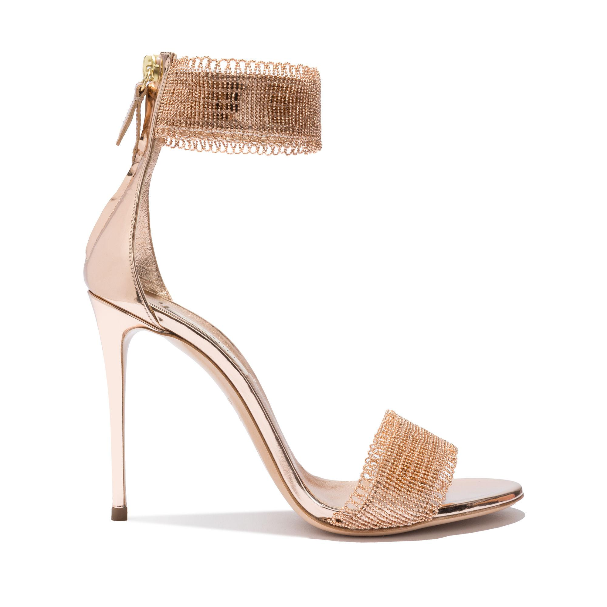 Casadei Evening In Tan And Rose Gold