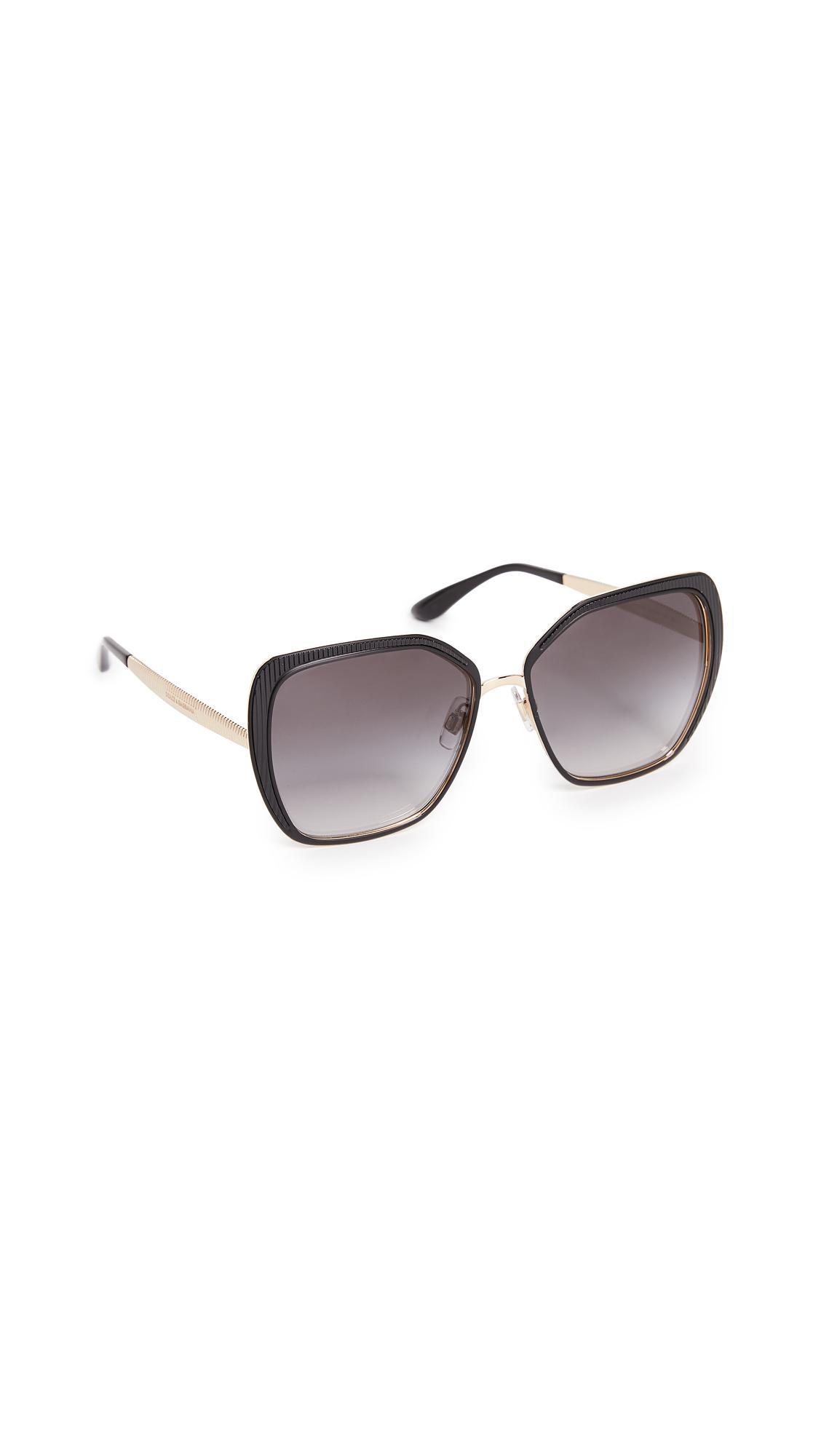 Dolce & Gabbana Square Fluted Sunglasses In Matte Black/grey