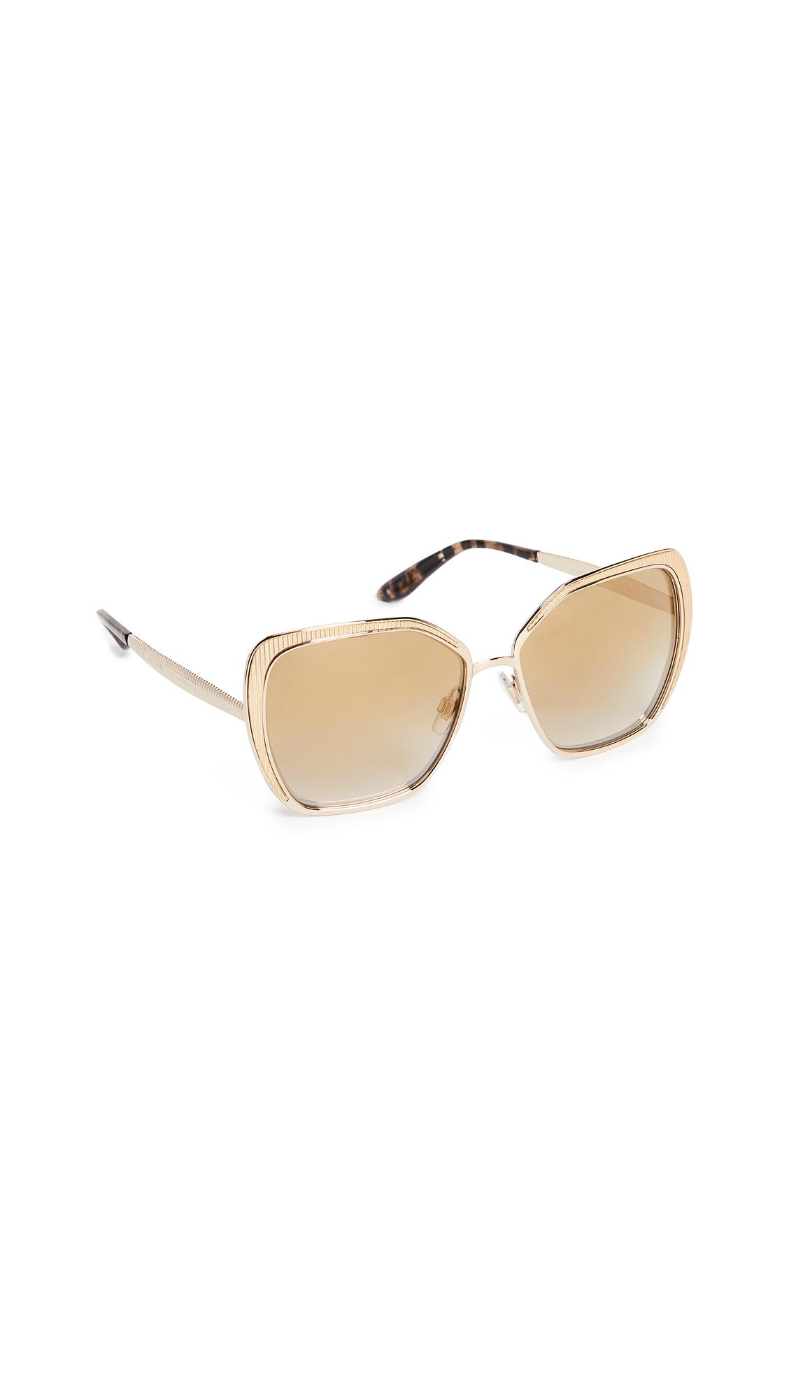 Dolce & Gabbana Square Fluted Sunglasses In Gold/gold