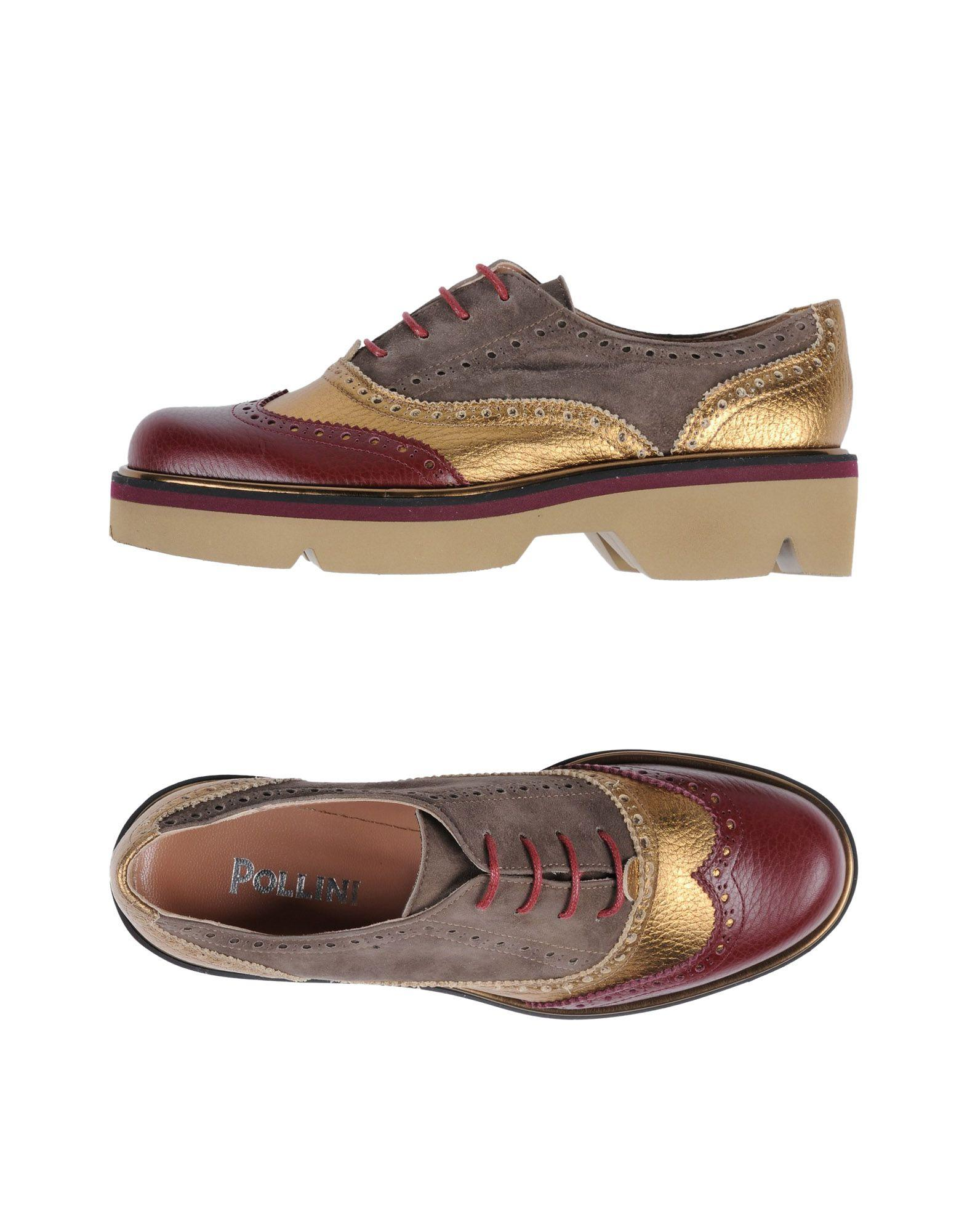Pollini Laced Shoes In Maroon